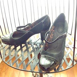 Clark's Suede and Patten Mary Jane Heels